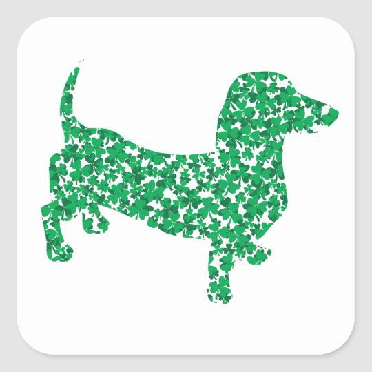 St. Patrick's Day Dachshund Square Sticker