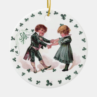 St Patrick's Day Dancing Children Ceramic Ornament