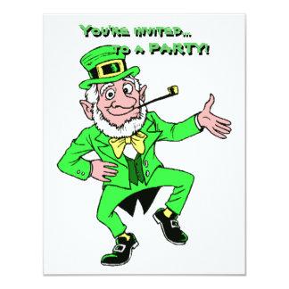 St. Patrick's Day Dancing Leprechaun Shamrocks Personalized Announcement