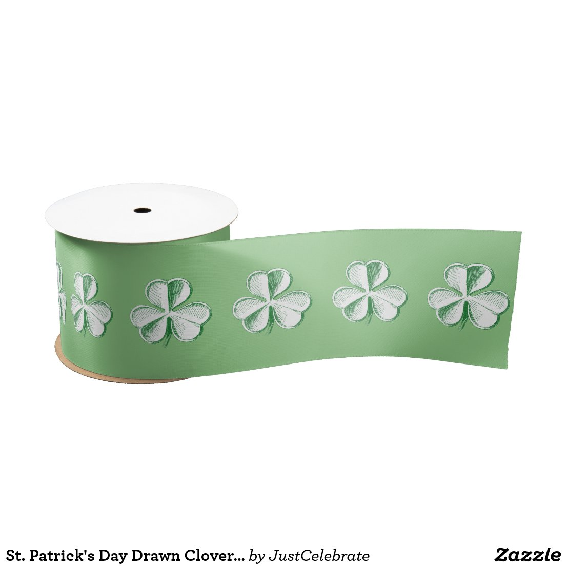 St. Patrick's Day Drawn Clover/Shamrock Satin Ribbon