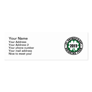 St. Patrick's day drinking team 2015 Business Card Template