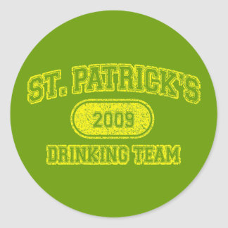 St Patrick's Day Drinking Team Classic Round Sticker