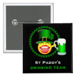 St Patrick's Day Drinking Team Square Button Pinback Button