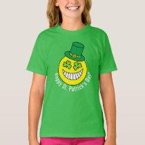 St Patrick's Day Emoji Shamrock Eyes T-Shirt