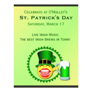 St Patrick's Day Emoji Smiley Green Beer Irish Pub Flyer