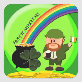 St. Patrick's Day End of Rainbow Square Sticker