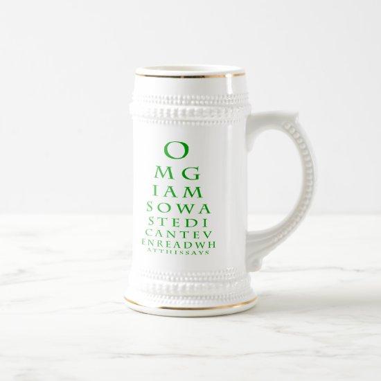 St. Patricks Day Eye Chart Mug (Green)