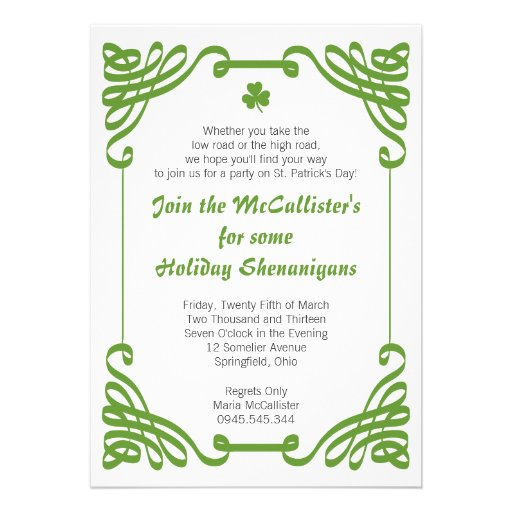 St. Patrick's Day Family Holiday Shenanigans Personalized Invites