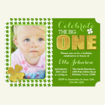 St. Patrick's Day First Birthday Party Photo Invitation