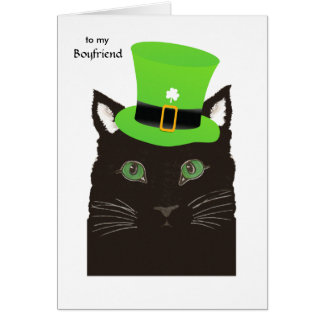 St. Patrick's Day for Boyfriend - Black Cat in Hat Card
