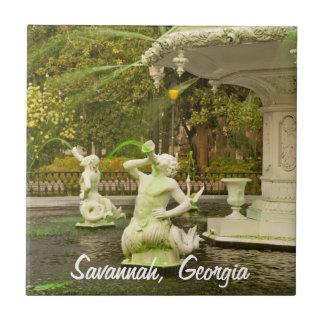 St Patrick's Day - Forsyth Fountain, Savannah, GA Ceramic Tile