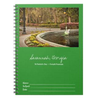 St Patrick's Day - Forsyth Fountain, Savannah, GA Notebook