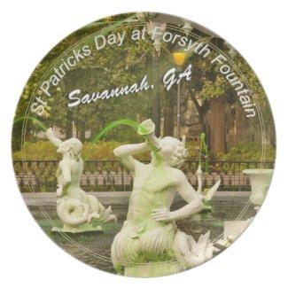 St Patrick's Day - Forsyth Fountain, Savannah, GA Plates