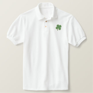 St. Patricks Day  Four Leaf Clover Short Sleeve Embroidered Polo Shirt