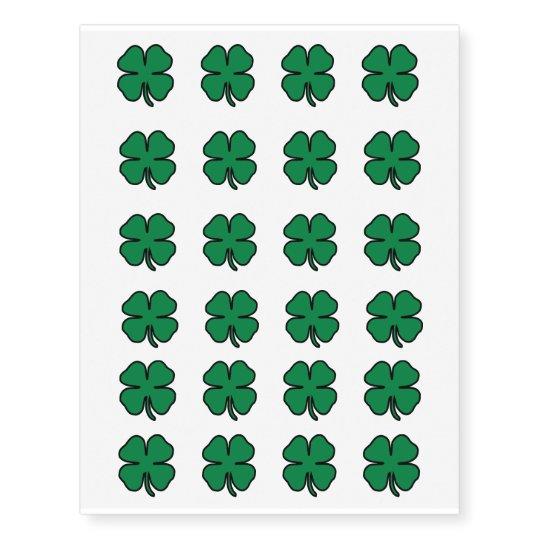 St. Patrick's Day Four Leaf Clover Temporary Tattoos ...