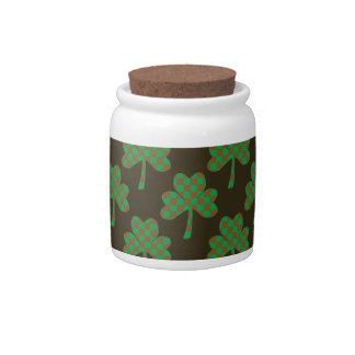 St. Patrick's Day Four-Leaf Clover Tiled Pattern Candy Jars