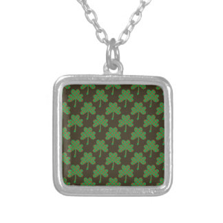 St. Patrick's Day Four-Leaf Clover Tiled Pattern Personalized Necklace