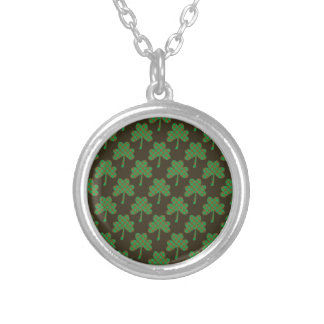 St. Patrick's Day Four-Leaf Clover Tiled Pattern Necklace