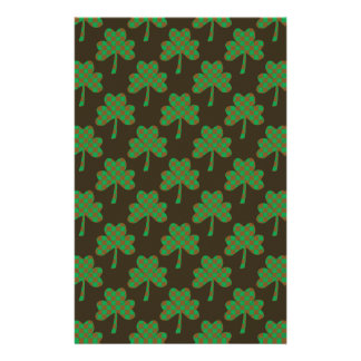 St. Patrick's Day Four-Leaf Clover Tiled Pattern Stationery