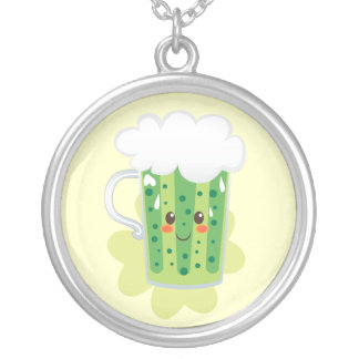 St. Patrick's Day Fresh Beer Round Pendant Necklace