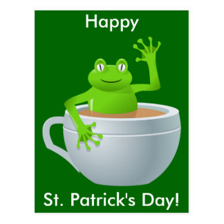 St. Patrick's Day Frog in Tea Cup Postcard