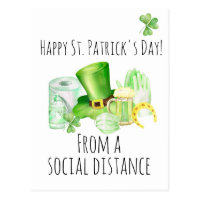 St. Patrick's Day From Social Distance Covid Postcard