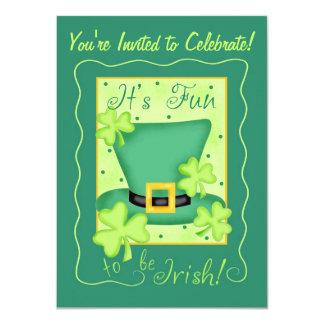 "St. Patrick's Day Fun to be Irish Party 4.5"" X 6.25"" Invitation Card"