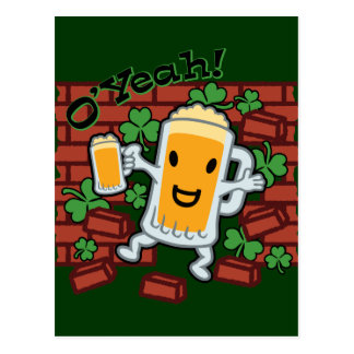 St Patrick's Day Funny Beer Man Postcard