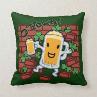 St Patrick's Day Funny Beer Man Throw Pillows