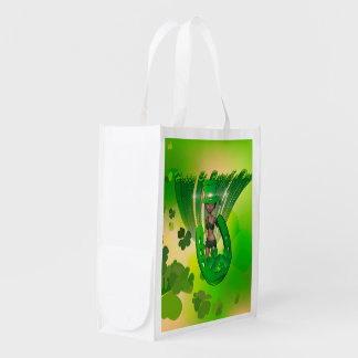 St. Patrick's Day, Funny, cool girl with hat Reusable Grocery Bags
