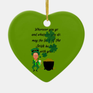 St Patrick's Day Funny Leprechaun Irish Blessing Ceramic Ornament