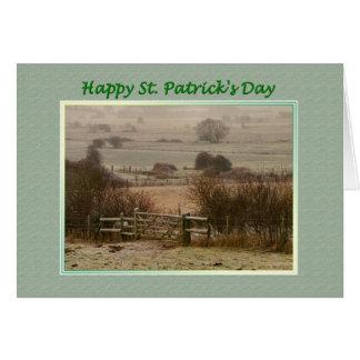 St. Patrick's Day Gate on Open Fields Card
