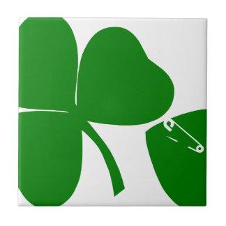 St Patrick's Day - Get Lucky 3 + 1 leaves = 4 Ceramic Tile