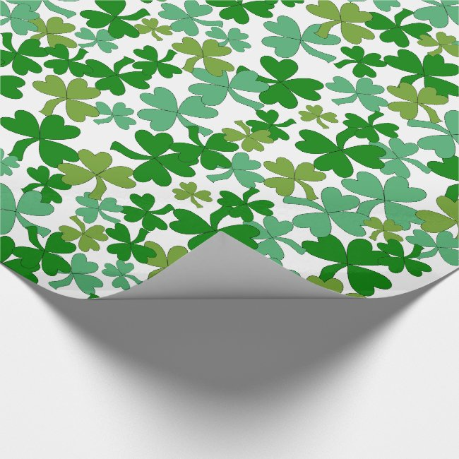 St Patrick's Day Gift Wrap Shamrocks Custom Color