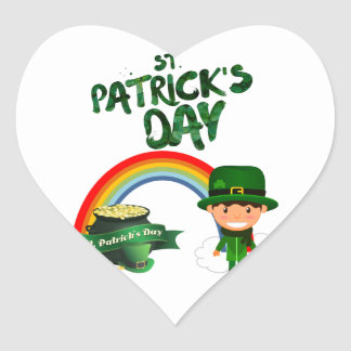 St Patrick's Day gifts Heart Sticker