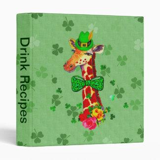 St. Patrick's Day Giraffe 3 Ring Binder