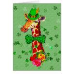 St. Patrick's Day Giraffe Greeting Card
