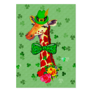 St. Patrick's Day Giraffe Large Business Card