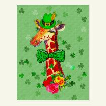 St. Patrick's Day Giraffe Postcard
