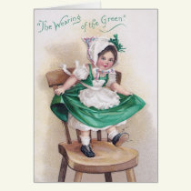 St Patrick's Day Girl on Chair Vintage Card