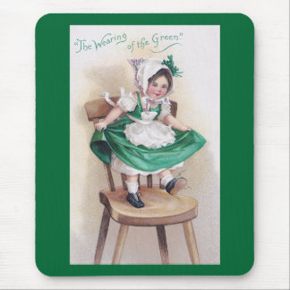 St Patrick's Day Girl on Chair Vintage Mouse Pad