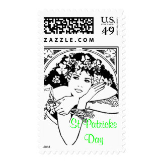 st patricks day girl postage stamp