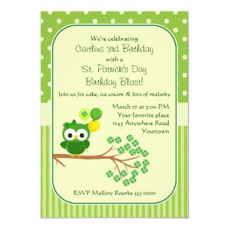 St. Patrick's Day Girl's Birthday Owl 5x7 Paper Invitation Card