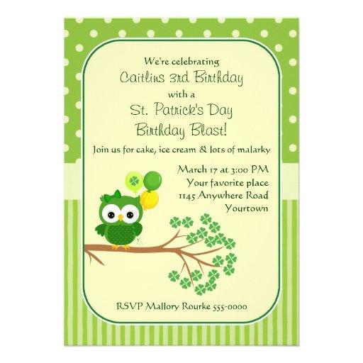 St. Patrick's Day Girl's Birthday Owl Invite