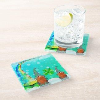 St Patrick's Day Gnome Glass Coaster