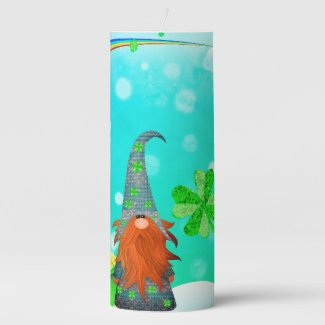 St Patrick's Day Gnome Pillar Candle
