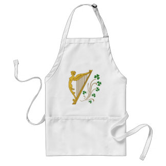St Patrick's Day Gold Harp and Shamrocks Adult Apron