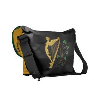 St Patrick's Day Gold Harp and Shamrocks Messenger Bag