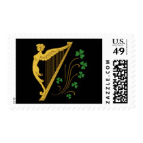 St Patrick's Day Gold Harp and Shamrocks Stamp