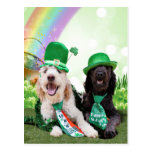 St Patricks Day - GoldenDoodles - Sadie and Izzie Post Cards